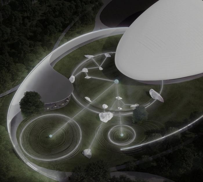 Территория общественного центра будет продолжать космическую тематику (концепт Aranya Cloud Center). | Фото: fahrenheitmagazine.com.