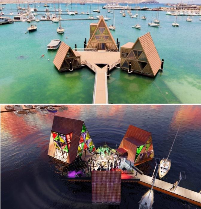 Плавучий центр Манса – это культурная и творческая платформа, расположенная в красивом заливе Минделу (Кабо-Верде).