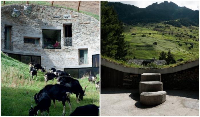 Подземная резиденция Villa Vals спрятана на живописном склоне швейцарских Альп в долине Вальс.