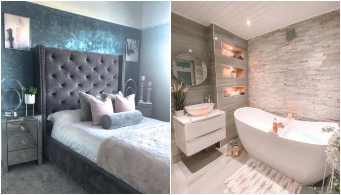Одна из спальных комнат и ванная в обновленном доме (Ливерпуль, Великобритания).