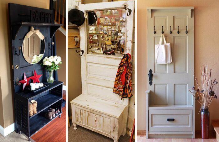 Старые двери станут идеальной основой для вешалки в прихожей.