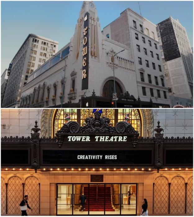 Tower Theater снова принимает посетителей, только теперь почитателей бренда Apple, которые в роскошных условиях могут приобрести понравившуюся модель (Лос-Анджелес, США).