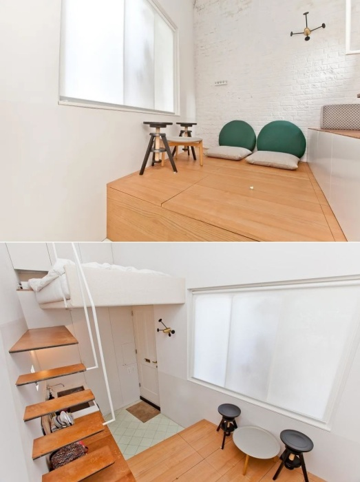 Гостиная находится на высоком подиуме, что позволяет более рационально использовать жилое пространство (Ричмонд-авеню, Лондон).