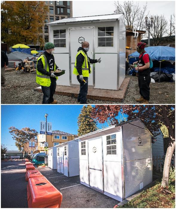 В других городах и штатах запущены подобные программы обеспечение временным жильем бездомных (Pallet, США).