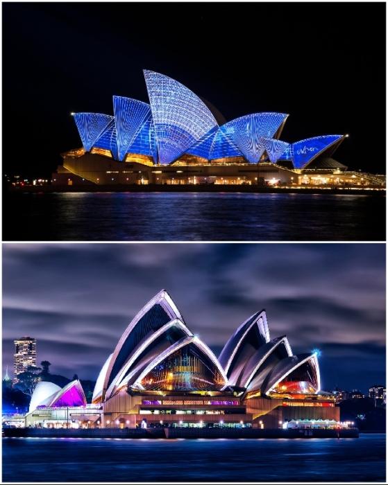 Увидеть светопреставления собираются толпы туристов и жителей города (The Sydney Opera House, Австралия).