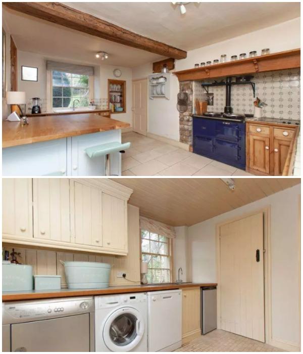 Несмотря на то, что дому уже 500 лет в нем есть вполне благоустроенная кухня и ванная комната с прачечной (The Old Dairy, деревня Box).