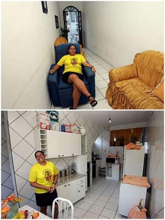 Интерьер узкого дома, в котором проживает большая бразильская семья (Minho House, Мадри-ди-Деус).