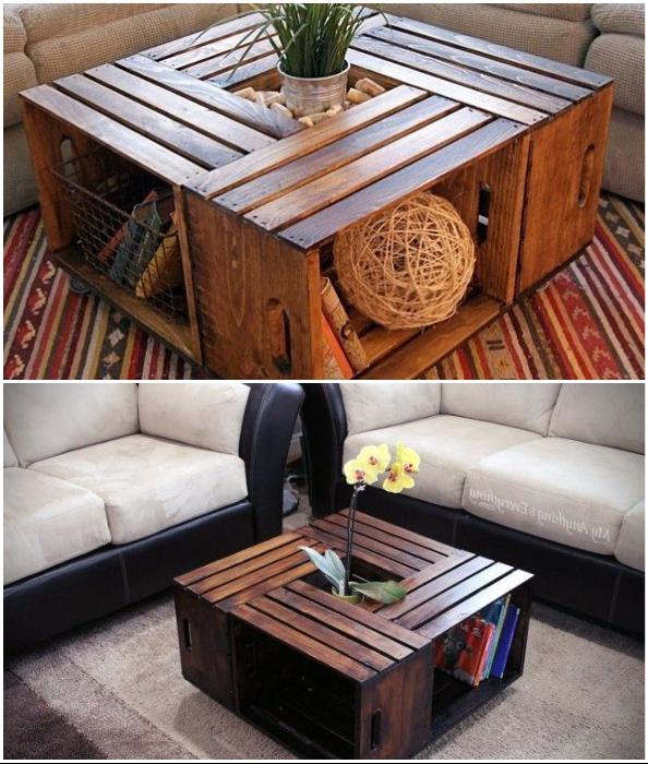 Деревянные ящики тоже можно превратить в многофункциональный журнальный столик.