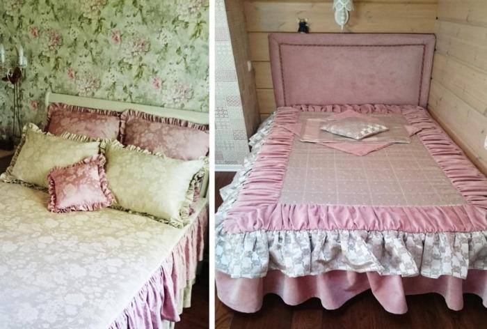 Спальные комнаты оформлены в романтическом стиле с изобилием цветочных мотивом и рюшей на покрывалах и декоративных подушках. | Фото: roomble.com.