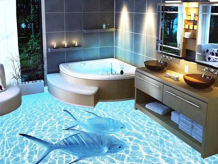 Оригинальный пол в ванной с применением 3D-технологий.