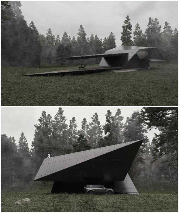 Современная роскошь: лесной дом в виде черной фигурки оригами разработанный грузинскими архитекторами (концепт архстудии Stipfold).