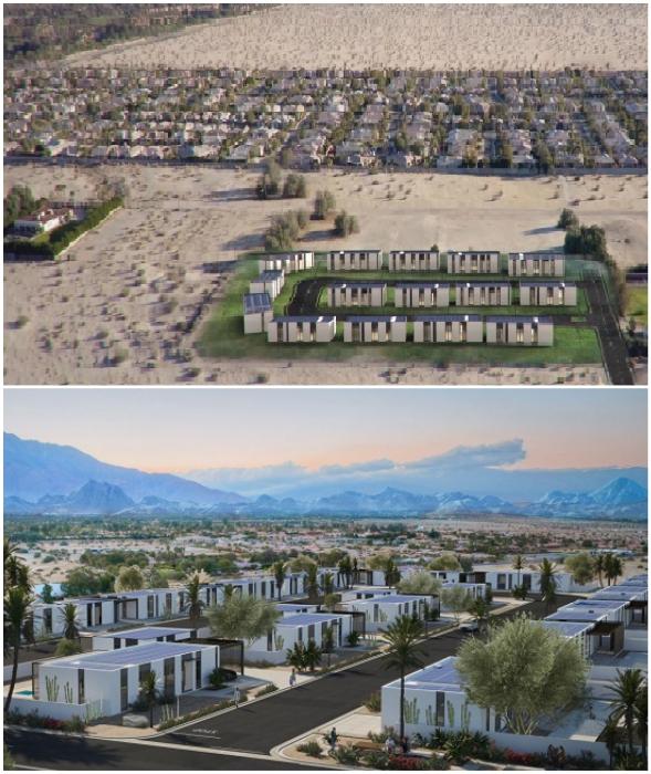 В скором времени на пустынном участке городка Ранчо Мираж появится квартал, дома которого будут собирать из напечатанных на 3D–принтере панелей.