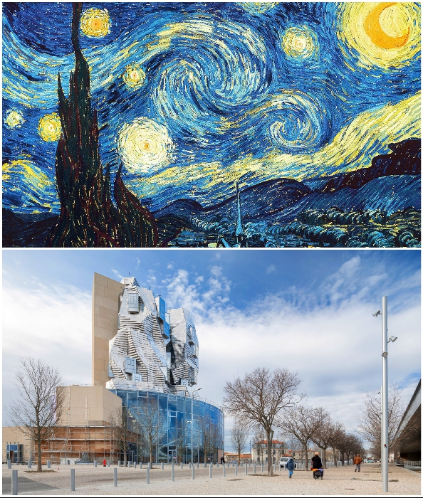 «Звездная ночь» Ван Гога вдохновила Фрэнка Гери на создание блестящей башни для Центра искусств в городе Арль (Франция).