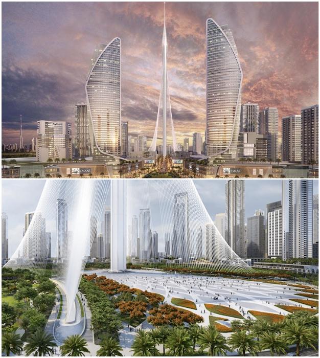 Концептуальный проект высотки Dubai Creek Tower от Сантьяго Калатравы (ОАЭ).