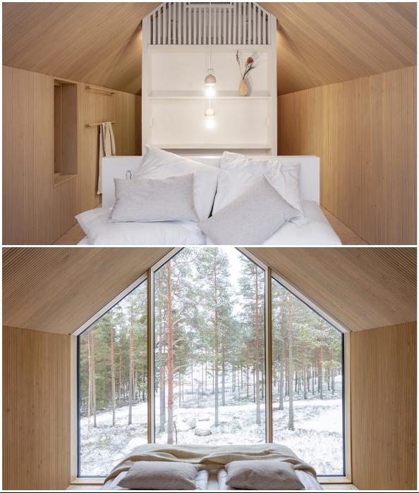 Спальня занимает центральное место и расположена перед огромным окном (Niliaitta, Финляндия).
