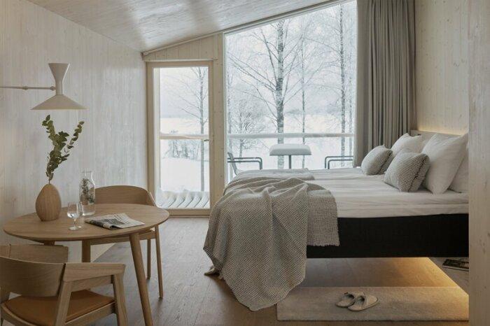 Интерьер стандартного отельного номера (Uni Villas, Финляндия). | newatlas.com.