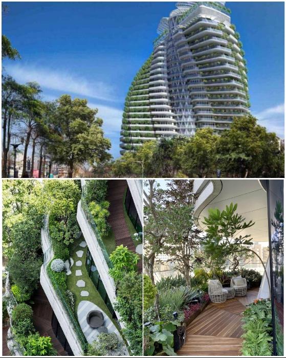 Вот в таком экзотическом рае будут находиться жильцы новой высотки Agora Garden Tower (Тайбэй, Тайвань).