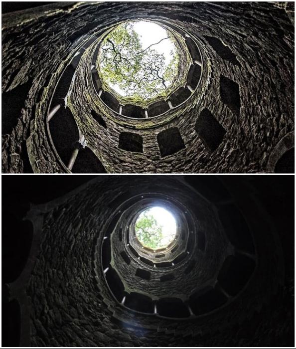 Чем ниже спускается человек, тем больше сумрак окутывает его (Quinta da Regaleira, Колодец Посвящения).