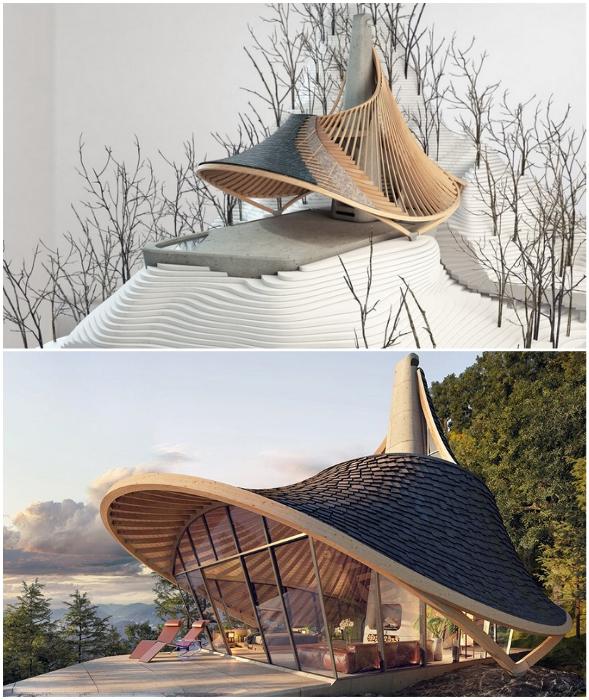 Крыша лесного домика создана в виде дамской шляпки с полями (концепт YEZO retreat). | Фото: mymodernmet.com.