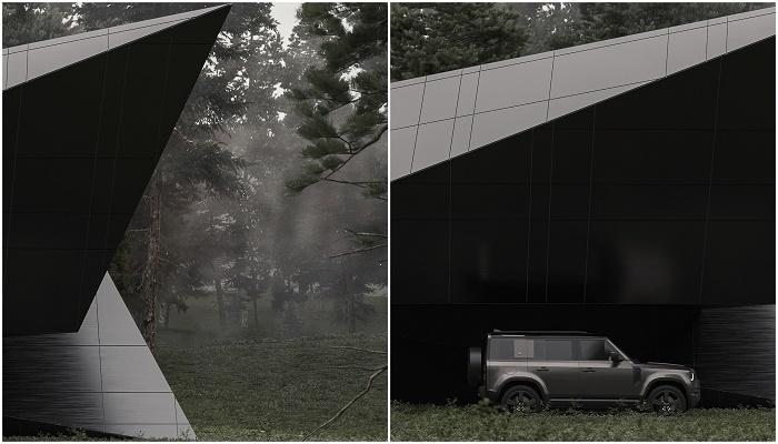 Консольный выступ второго уровня образует навес для автомобиля (концепт Blackbird Cabin).