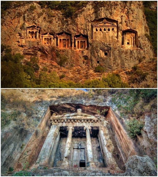 Богато украшенные гробницы Мирры привлекают тысячи туристов (Турция).