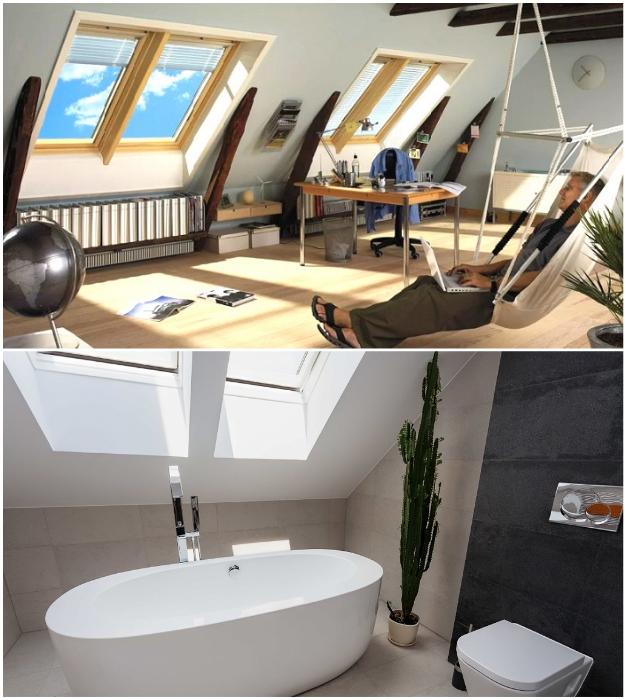 Обустройство кабинета/мастерской или ванной комнаты возле мансардных окон – обрадует каждого.