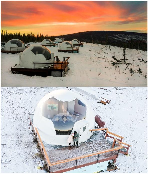 На Аляске появилось идеальное место где, не вставая с постели, можно любоваться Северным сиянием (Borealis Basecamp, США).