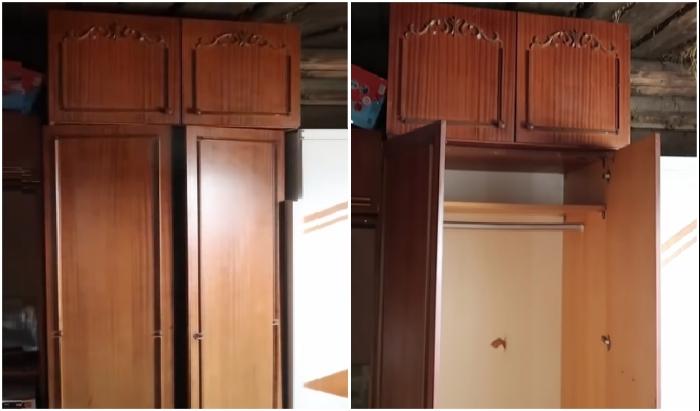 Секция от советской стенки вдохновила мастерицу на создание стильного шкафа для прихожей.