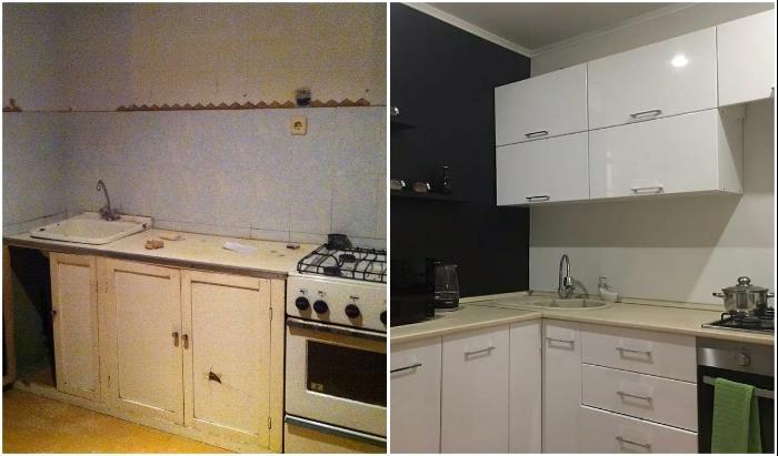 И совсем «убитую» кухню можно привести в порядок.