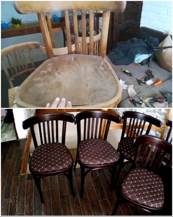 Вот такая эффектная обеденная группа получилась из потрепанных стульев.