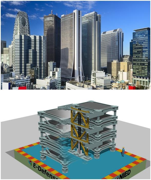 Большинство небоскребов Японии укреплены с помощью стальных рам, тросов и предохранителей.