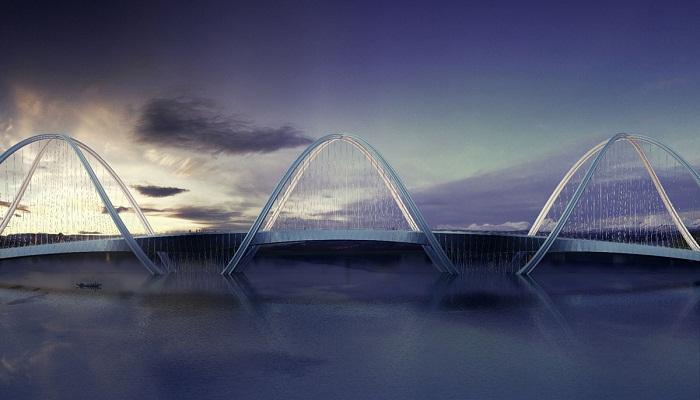 Конструкция моста имеет уникальную форму поддерживающих опор (Мост San Shan, Китай). | Фото: jrevistaestilopropio.com.