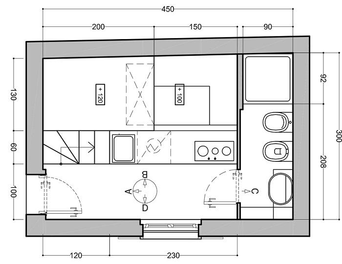 План первого уровня квартиры, где указаны все зоны и коммуникации.