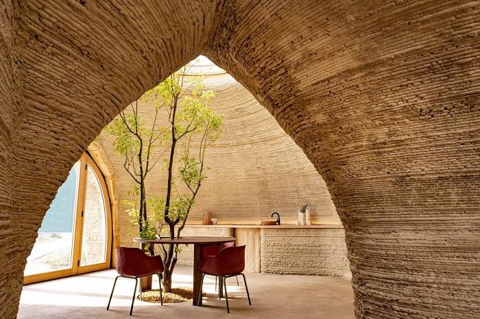 Кухонный стол напечатали вместе со стенами дома (TECLA, Италия). | Фото: newatlas.com.