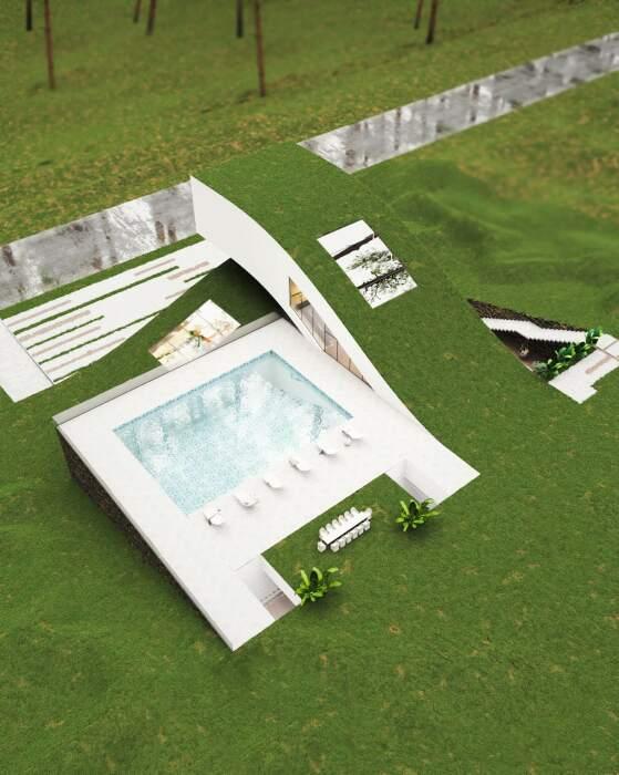 Концепт «Ландшафтного дома», который станет идеальным местом для воссоединения с природой и внешним миром (проект Милада Эштияги). | Фото: amazingarchitecture.com.