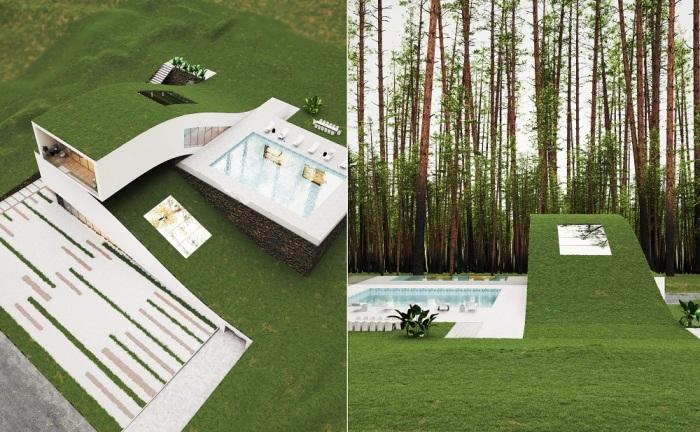 «Зеленые крыши» на консольных жилых модулях украсят загородный дом и позволят создать комфортный микроклимат внутри помещений (концепт Landscape House).
