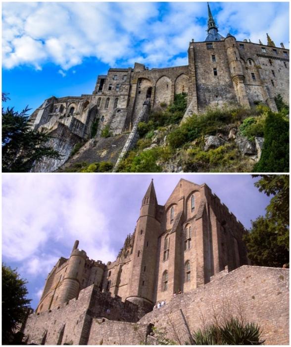 Монументальные очертания сооружений, которым уже более 1 тысячи лет (аббатство Мон-Сен-Мишель, Франция).
