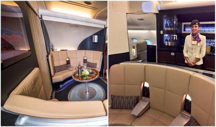 Гости, решившие лететь первым классом, могут пообщаться в лаунж-зоне и воспользоваться баром (Airbus А-380 Etihad).