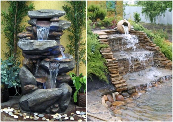 Природный камень, огромное желание и неиссякаемая фантазия помогут создать оригинальные фонтаны на своей даче.