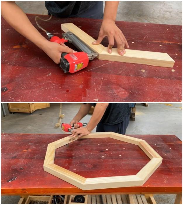 Процесс сборки рамки, внутри которой будет собираться щит для столешницы.