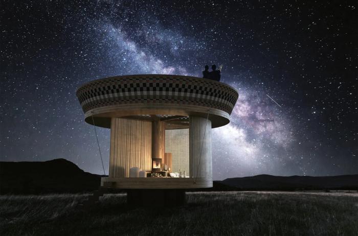 Крыша домика станет идеальным местом для романтического ужина под звездным небом (концепт Casa Ojala').   Фото: acentraledellarte.org.