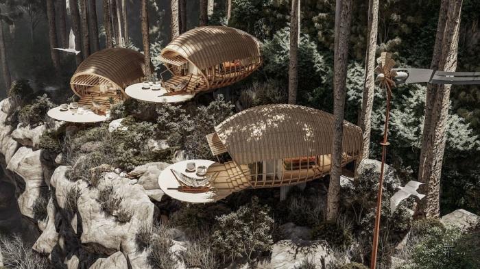 Горные хижины Cabins On The Mountain станут прекрасным местом для отдыха альпинистов и ценителей эко-туризма (концепт студии Veliz Arquitecto).   Фото: amazingarchitecture.com.