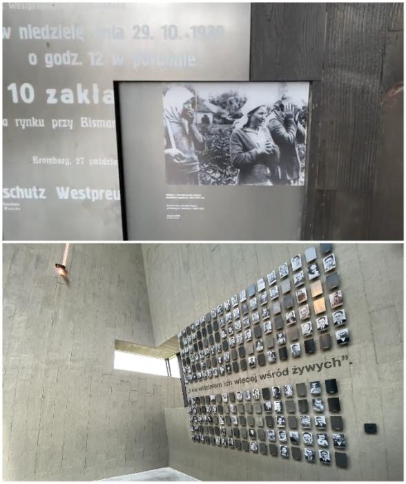 Тягостная атмосфера усугубляется жуткими фотографиями, запечатлевшими зверства нацистов и снимками погибших жителей деревни (Mauzoleum Martyrologii Wsi Polskich, Михнев).