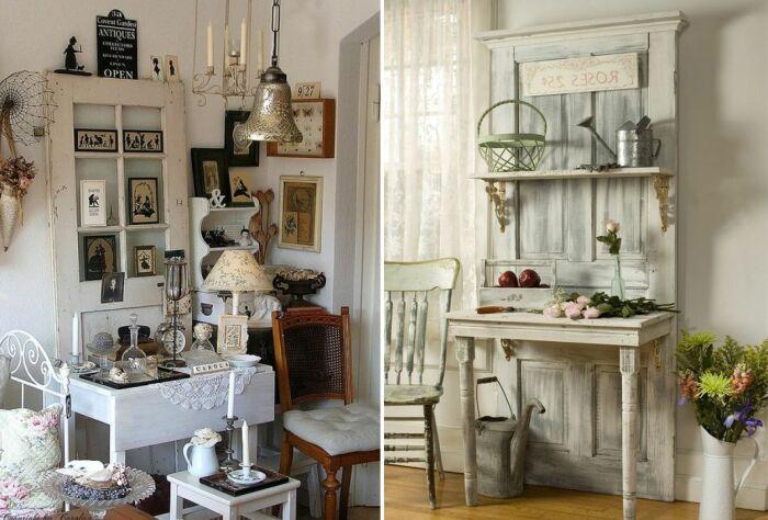 Из старой двери может получиться оригинальный туалетный столик и даже кухонный гарнитур.