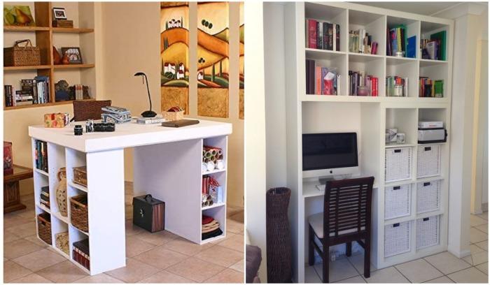 Стеллажные системы Ikea Kallax помогут без проблем обустроить домашний офис.