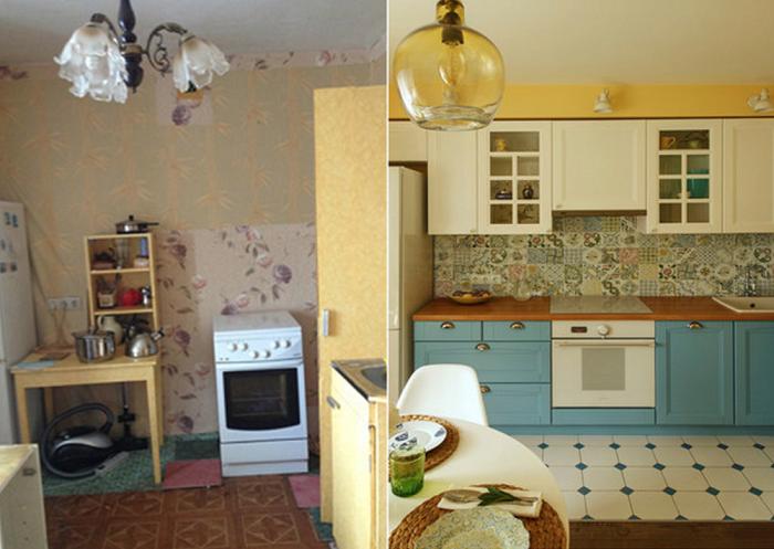 Кухня до и после преобразований.