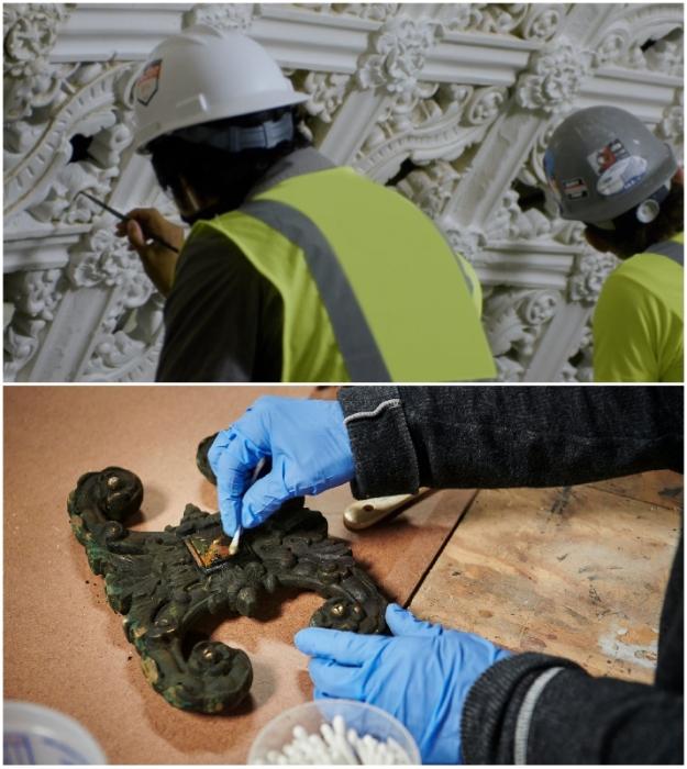 Реставраторам пришлось приложить немало усилий, чтобы возродить былую роскошь и красоту здания (Apple Tower, Лос-Анджелес).