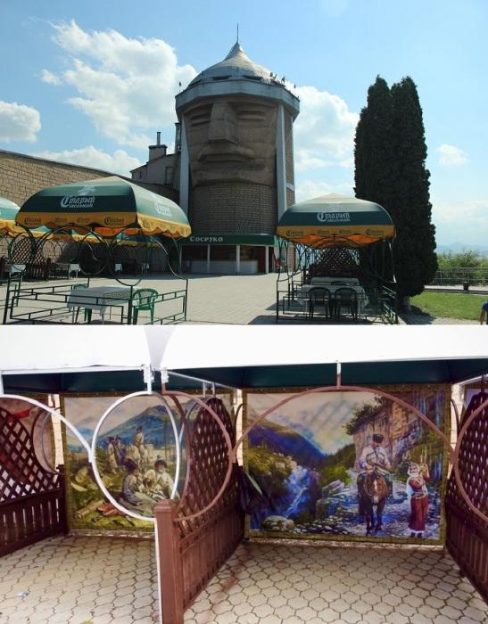 На территории ресторанного комплекса «Сосруко» имеется парк, летняя площадка и сувенирные лавки, где можно прикупить колоритные изделия, сделанные местными мастерами.