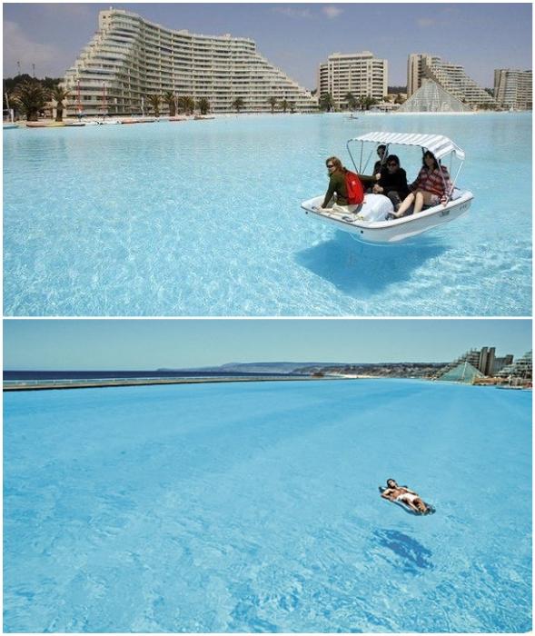 Благодаря инновационным внедрениям вода в бассейне кристально чистая и прозрачная (San Alfonso del Mar, Альгарробо).
