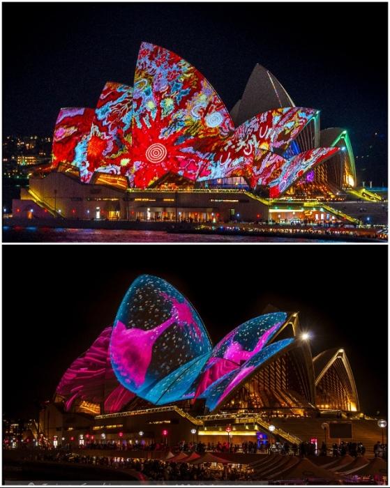 Особенно яркие световые шоу организовываются во время массовых гуляний, фестивалей, праздников (The Sydney Opera House, Австралия).